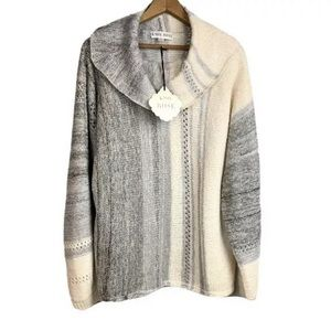 KNOX ROSE Sweater Cream Gray NWT Size XL Acrylic